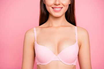 Cropped close up photo of gorgeous tender pretty cute with perfect soft skin she her lady girl showing ideal big size of cleavage wearing pale pink bra isolated on rose background