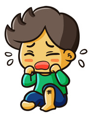 Funny and cute little boy crying - vector.