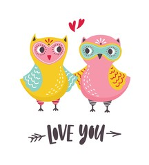Romantic greeting card or postcard template with pair of cute owls and Love You inscription handwritten with cursive font. Colorful vector illustration in flat cartoon style for St. Valentines Day.