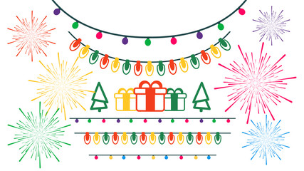 Christmas set of items. Christmas lights and gifts with bright fireworks on white background. Flat design