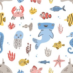 Wall Mural - Childish seamless pattern with funny sea and ocean dwellers or marine animals on white background. Colorful vector illustration in flat cartoon style for textile print, wrapping paper, wallpaper.