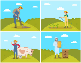 Farmer Digging Soil of Field Vector Illustration