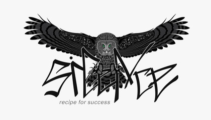 slogan with an owl