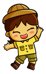 Cute and funny female adventurer wearing safari cloth smiling - vector.