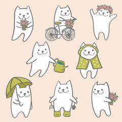 spring cats white vector hand drawn with flowers love bicycle rainy days gardening