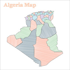 Algeria hand-drawn map. Colourful sketchy country outline. Extra Algeria map with provinces. Vector illustration.