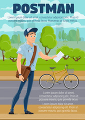 Postman with mail, letter and bike, postal service