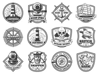 Sea anchor, sailing ship and helm. Nautical badges
