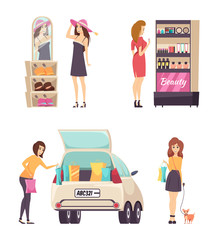 Person Choosing Makeup Cosmetics Product Vector