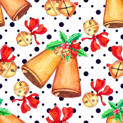 Seamless Christmas pattern with bell