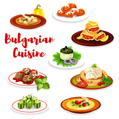 Bulgarian meat dishes and cake, vector