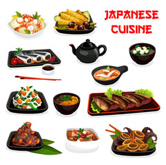 Japanese cuisine soup, salad and seafood stew dish