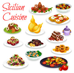 Sicilian veggies seafood dish, pastry dessert