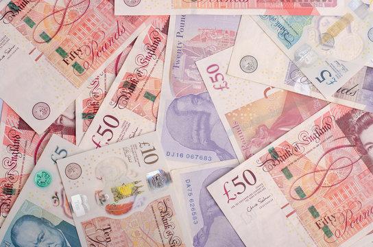 UK pound,money of United kingdom close up on white, Pound UK note