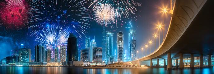 Beautiful fireworks above Dubai Business bay, UAE