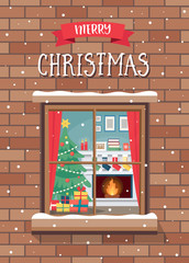 Christmas greeting card with window and cozy room, christmas tree and fireplace.