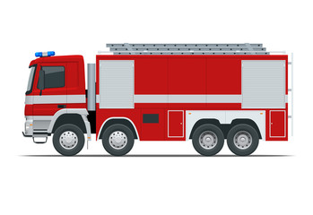 Red fire truck, vehicle of Emergency. Firefighters design element. Side view vector Illustration on a white background.
