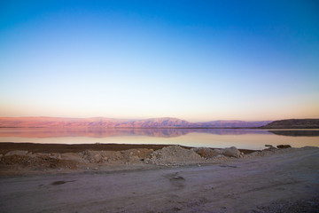 View of the dead sea at sunrise