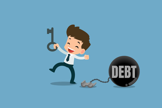 Happy businessmen by use the key to unlock the chain from the steel metal ball to free the debt. Vector illustration with financial concepts.
