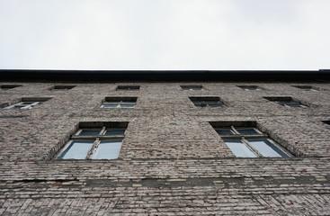 Old vintage brick building facade