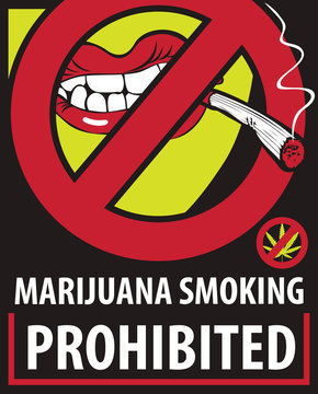 Vector banner with words Marijuana smoking prohibited with crossed out human mouth with joint or cigarette in mouth. No smoking weed. Stop drug consumption. Prohibition sign. No cannabis