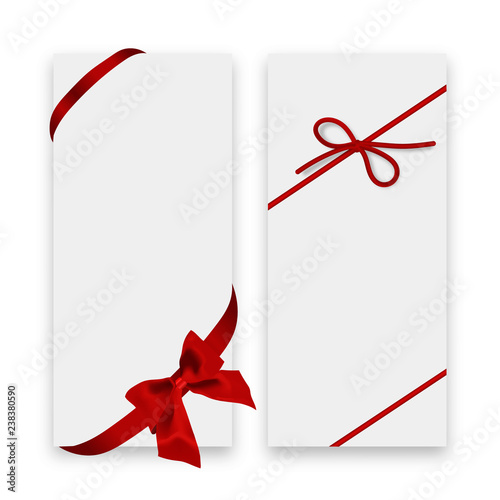 Gift Card White Gift Voucher Templates With Red Ribbon And A Bow
