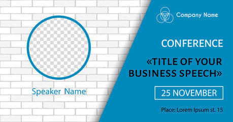 Corporate announcement poster template. Vector flyer for business conference. Social media event banner