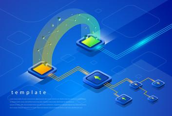 Database element isometric background blue