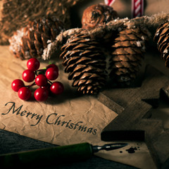 christmas ornaments and text merry christmas