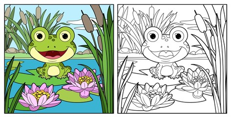 Cute frog sits on leaf of lily color and outlined linear drawing for coloring on a white background