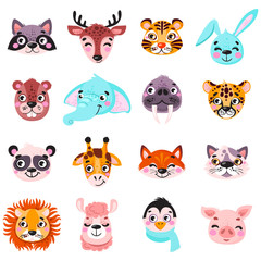 Set of vector animals in cartoon style. Cute smiley pig, panda, beaver, walrus, penguin, elephant, giraffe, llama, raccoon, deer, tiger. Cute animal faces. Hand drawn characters. Vector illustration.