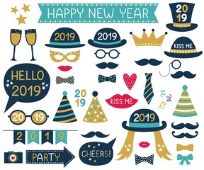 New Year 2019 vector design elements and party photo booth props