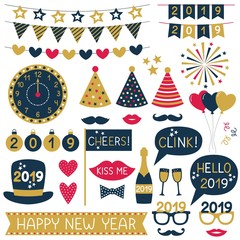 New Year 2019 party props and bunting set