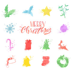 Watercolor Christmas symbols of Santa Claus hat, reindeer, snowflakes, balls, tree, wreath, mistletoe, gift box, stocking, star and bell. Vector icons set isolated on white background.