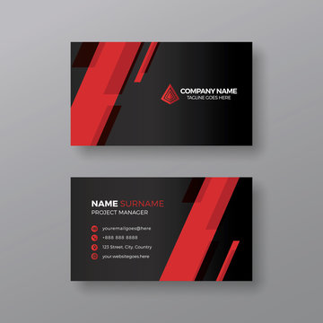 Elegant black business card template with red details