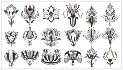 Art nouveau and art deco floral ornaments, modern flower vintage elements. Retro decoration style. Symbol tattoo.
