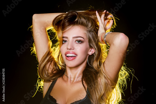 87da5a6d8 Perfect woman smiling on black background. Beauty and perfect health hair