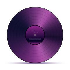 Fototapeta Purple DJ vinyl record plate for music player isolated on white background. Vector design element. obraz