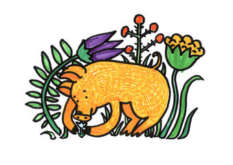 Chinese New Year Pig Illustrations Chinese New Year Of Pig Doodle Marker Style Graphic