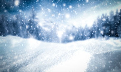 Winter background of snow and frost with free space for your decoration