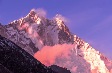 Greatness of nature concept: grandiose view of Lhotse peak (8516 m) at sunset. Nepal, Himalayas. Wall mural