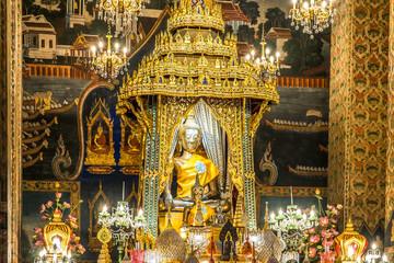Image of Buddha in the Wat Pathum Wanaram temple. Bangkok, Thailand.