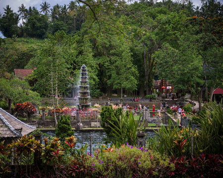 The central tiered fountain in the middle of the pools in Tirtagangga royal palace gardens, Bali, Indonesia.