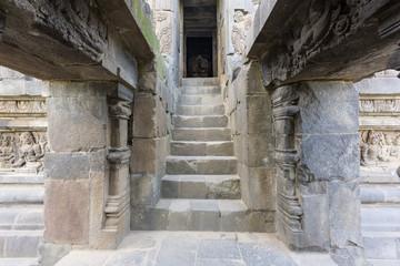 Entrance of the main shrine of Shiva temple in Candi Prambanan hindu temple, Yogyakarta, Java, Indonesia.