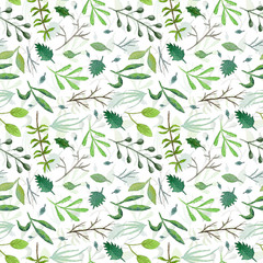 Overlapped watercolor greenery seamless pattern with mess of green leaves and branches on white background. Tender botanical texture for textile, wrapping paper, print design, surface, background