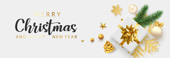 Merry Christmas and Happy New Year banner with top view gift and Christmas decorations.