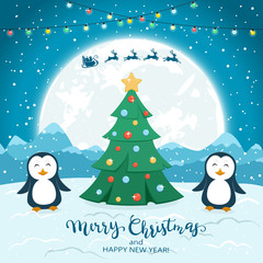 Christmas Tree with Happy Penguins and Santa on Blue Background