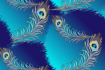 Pattern of peacock feathers. Vector illustration. Suitable for fabric, wrapping paper and the like