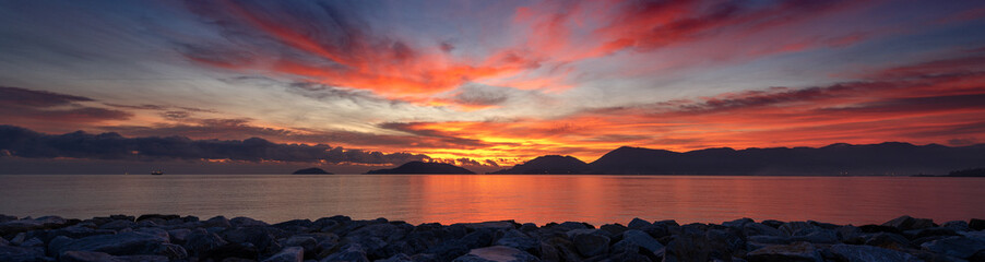 Sunset at the Sea - Gulf of La Spezia Italy Wall mural