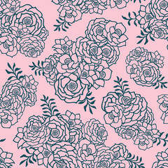 Beautiful two colored pink and green seamless pattern with roses, leaves. Hand drawn contour lines.